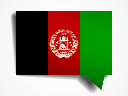 afghanistan flag: Afghanistan flag paper 3d realistic speech bubble on white background Illustration
