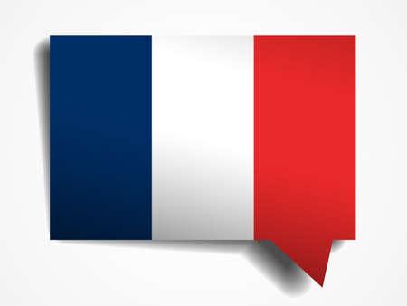 flag france: France flag papier 3d discours r�aliste bulle sur fond blanc