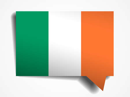 foreign national: Ireland flag paper 3d realistic speech bubble on white background Illustration