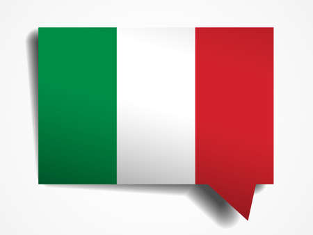 flaga włoch: Italy flag paper 3d realistic speech bubble on white background Ilustracja