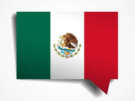bandera mexico: Mexico bandera de papel 3d burbuja del discurso realista sobre fondo blanco