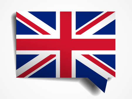 United Kingdom flag paper 3d realistic speech bubble on white background Vector