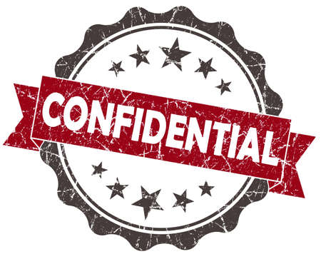 confidentiality: CONFIDENTIAL red grunge vintage seal isolated on white