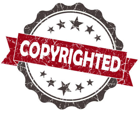 copyrighted: Copyrighted red grunge vintage seal isolated on white Stock Photo