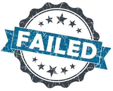 malfunction: Failed blue grunge vintage seal isolated on white Stock Photo