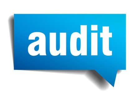 internal revenue service: audit blue 3d realistic paper speech bubble isolated on white