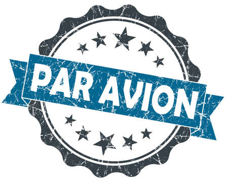 avion: Par AVION blue grunge vintage seal isolated on white