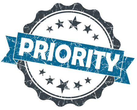 prioritize: PRIORITY blue grunge vintage seal isolated on white