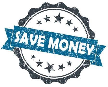 Save MONEY blue grunge vintage seal isolated on white photo
