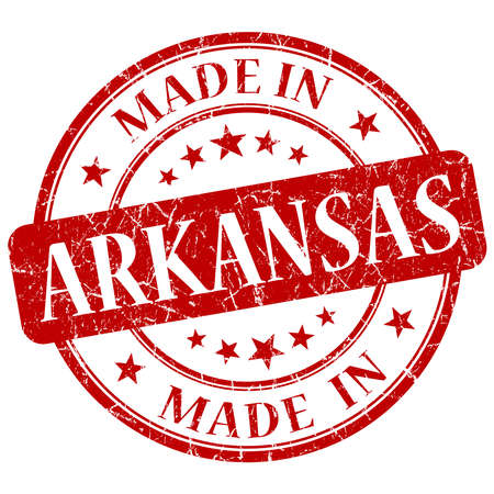 made in Arkansas red round grunge isolated stamp photo