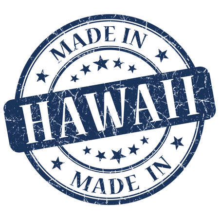 made in Hawaii blue round grunge isolated stamp photo