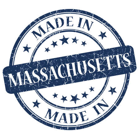 made in Massachusetts blue round grunge isolated stamp photo