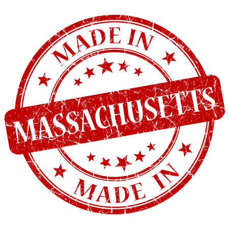 made in Massachusetts red round grunge isolated stamp photo
