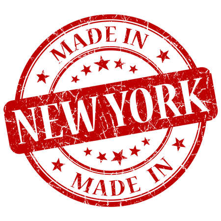 made in New York red round grunge isolated stamp photo
