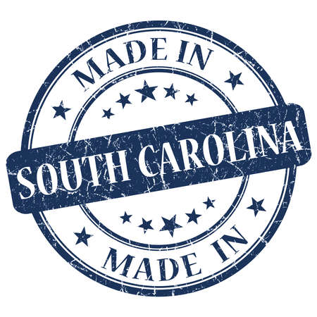 and south carolina: made in South Carolina blue round grunge isolated stamp