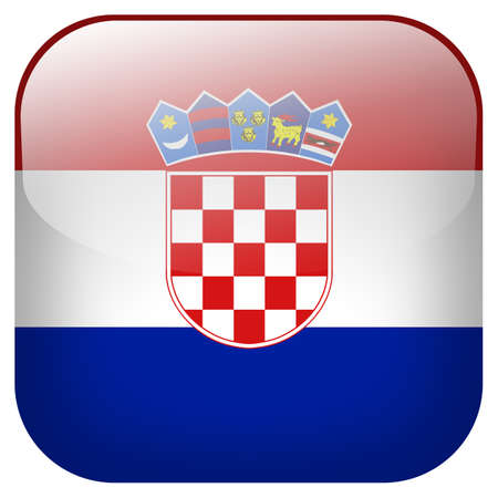 Croatia national flag square button isolated on white background photo