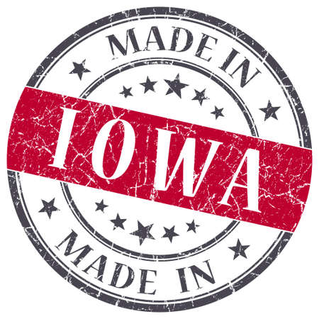 made in Iowa red round grunge isolated stamp photo