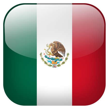 Mexico national flag square button isolated on white background photo
