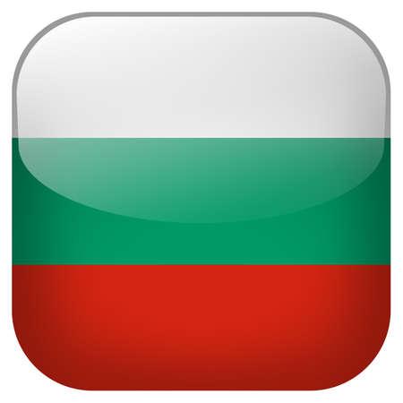 Bulgaria national flag square button isolated on white background photo