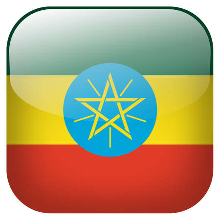 Ethiopia national flag square button isolated on white background photo