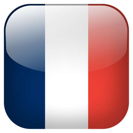 France national flag square button isolated on white background photo