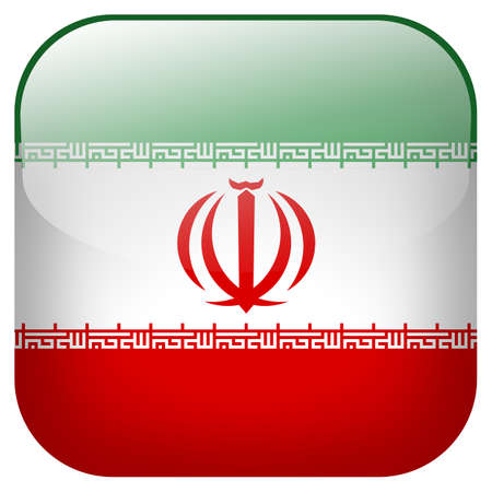 Iran national flag square button isolated on white background photo