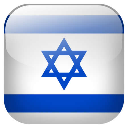 Israel national flag square button isolated on white background photo