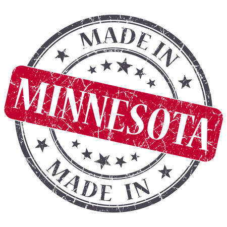 made in Minnesota red round grunge isolated stamp photo