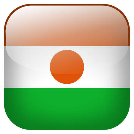 niger: Niger national flag square button isolated on white background Stock Photo