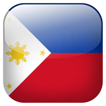 Nationale vlag van Filipijnen vierkante knop geïsoleerd op een witte achtergrond