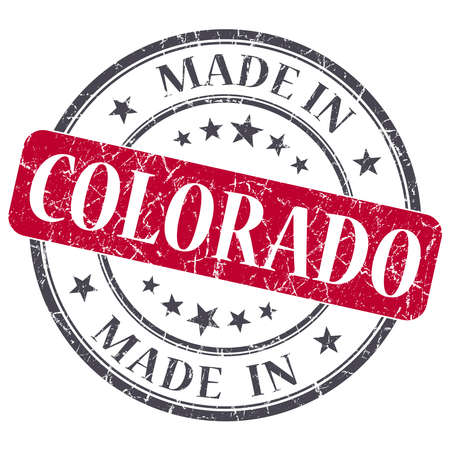 made in Colorado red round grunge isolated stamp photo