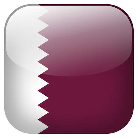 Qatar national flag square button isolated on white background Stock Photo - 26035653