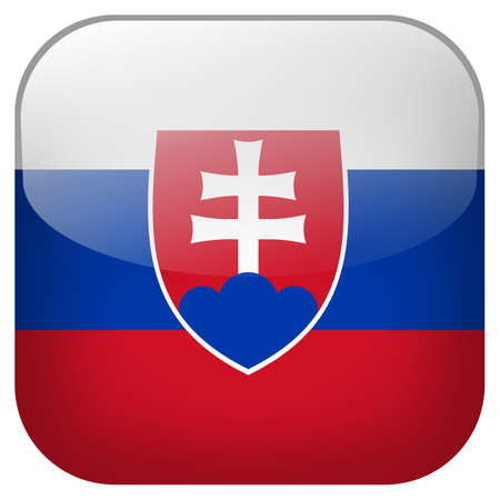 Slovakia national flag square button isolated on white background