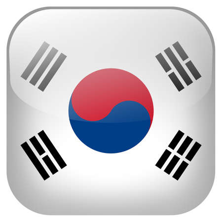 South Korea national flag square button isolated on white background photo
