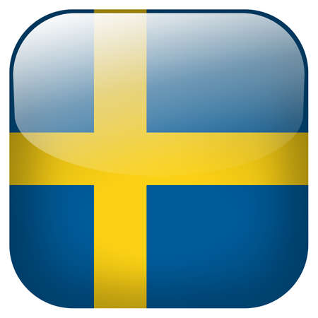 Sweden national flag square button isolated on white background photo