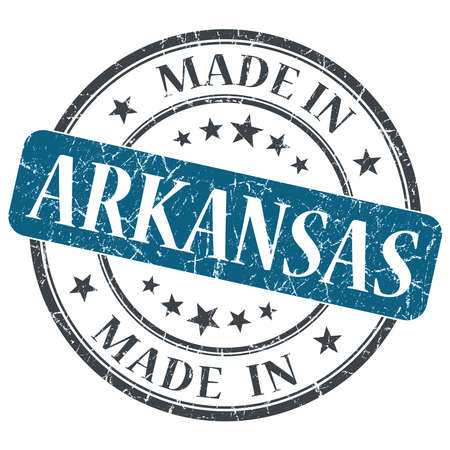made in Arkansas blue round grunge isolated stamp photo