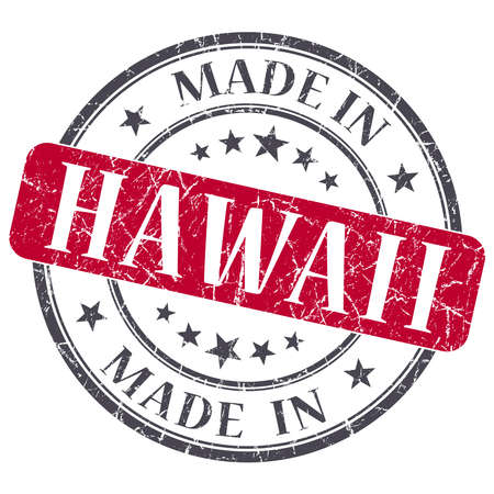 made in Hawaii red round grunge isolated stamp photo
