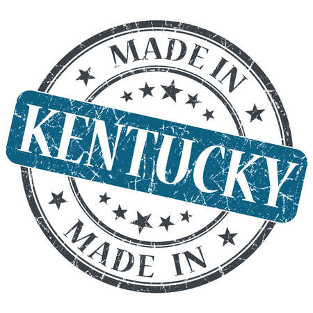 made in Kentucky blue round grunge isolated stamp photo