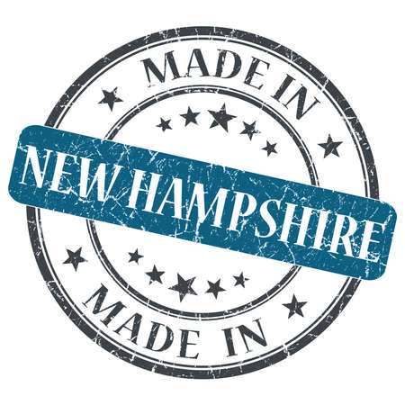 hampshire: made in New Hampshire blue round grunge isolated stamp