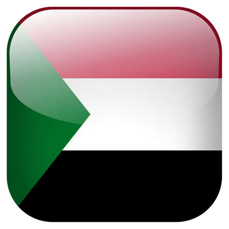 Sudan national flag square button isolated on white background photo