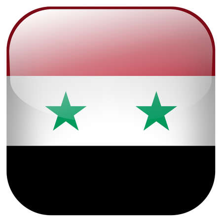 Syria national flag square button isolated on white background photo