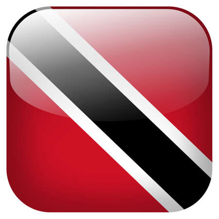 national flag trinidad and tobago: Trinidad And Tobago national flag square button isolated on white background Stock Photo