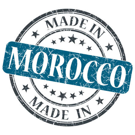 made in morocco: made in MOROCCO blue grunge stamp isolated on white background