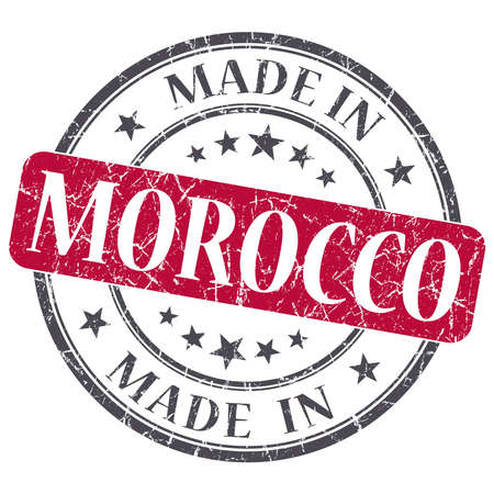 made in morocco: made in MOROCCO red grunge stamp isolated on white background Stock Photo