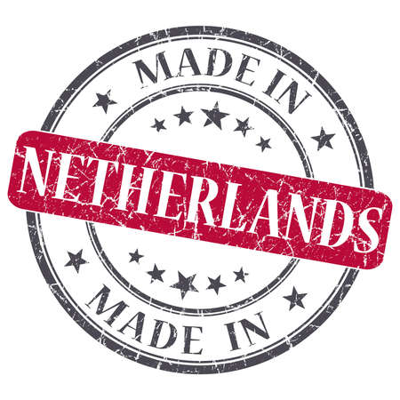 made in netherlands: made in Netherlands red grunge round stamp isolated on white background Stock Photo
