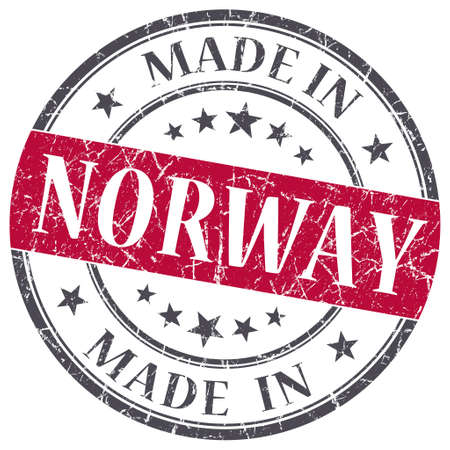 made in Norway red grunge round stamp isolated on white background photo