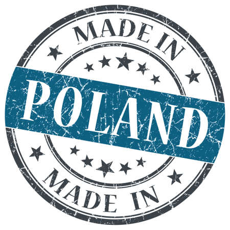 made in Poland blue grunge round stamp isolated on white background photo