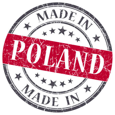 made in Poland red grunge round stamp isolated on white background photo