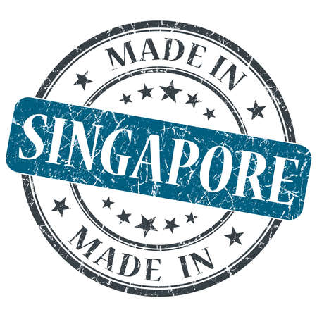 made in SINGAPORE blue grunge stamp isolated on white background photo