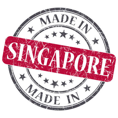 made in SINGAPORE red grunge stamp isolated on white background photo